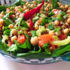 Salata cu naut, linte si spanac o capodopera