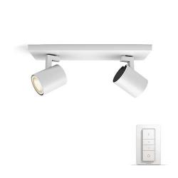 Philips Hue Runner - Bara Cu 2 Spoturi  Bec Led Gu10  2x5.5w  Wi-fi  Lumina Alba Reglabila + Intrerupator  Alb