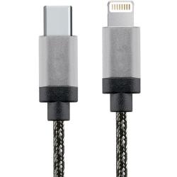 Star Cablu Date Usb Tip C La Lightning  1m  Aluminiu  Alb-negru
