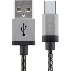 Star Cablu Date Usb La Usb Tip C  2m  Aluminiu  Alb-negru