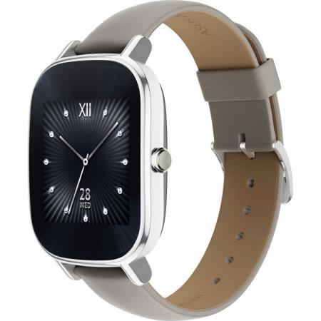 ASUS Smartwatch ZenWatch 2 Otel Inoxidabil Argintiu + Curea Piele Crem RS125023444