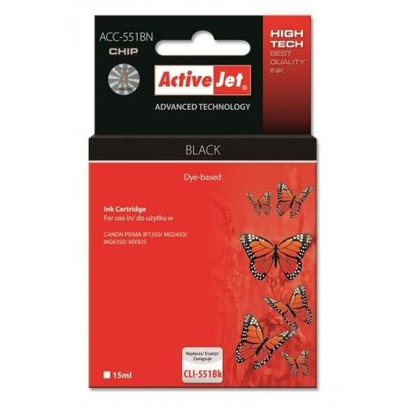 ActiveJet replace Canon CLI-551Bk (15ml ) - Pixma IP7250