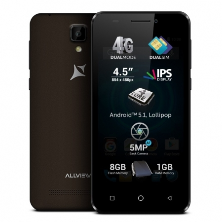 Allview P5 Pro - 4.5'', Dual Sim, Quad-Core, 1 GB RAM, 8GB, 4G - Negru