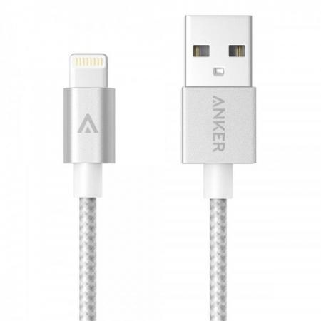 Anker Lightning Nylon Premium - Cablu USB, 0.91m, certificare MFi Apple - argintiu