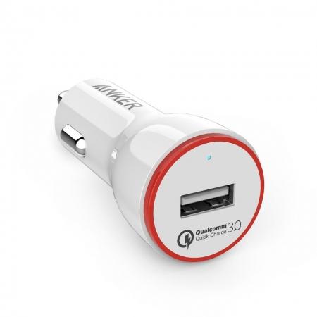 Anker PowerDrive+ 1 - Incarcator auto premium, 24W, Qualcomm Quick Charge 3.0, Alb