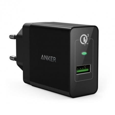 Anker PowerPort+ - Incarcator retea, 1xUSB, 18W, Qualcomm Quick Charge 3.0, Negru