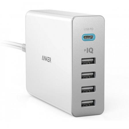 Anker PowerPort+ 5 - Incarcator de retea premium, 60W, 1xUSB-C, 4xUSB 3.0, cu Power Delivery si PowerIQ, Alb