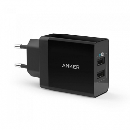 Anker PowerPort - Incarcator de retea, 24W, 2 porturi USB, PowerIQ, Negru