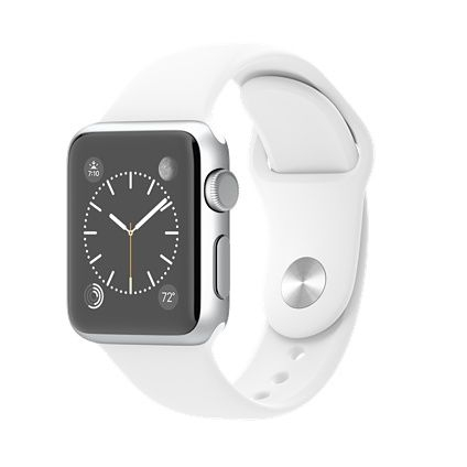 Apple Watch Sport 38mm - carcasa aluminiu argintiu curea sport alba MJ2T2LL