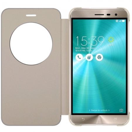 Asus - Husa tip View Flip Cover pentru Zenfone 3 ZE552KL, Auriu