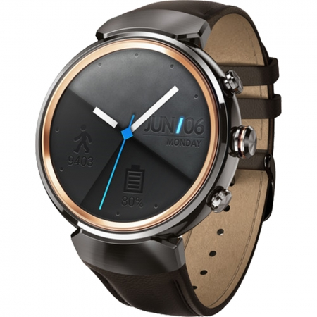 Asus WI503Q ZenWatch 3 - Smartwatch, Carcasa otel inoxidabil, Curea piele, Maro
