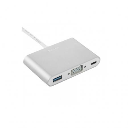 Benks Adaptor multiport 3in1 USB-C - VGA - USB 3.0 - USB-C - argintiu