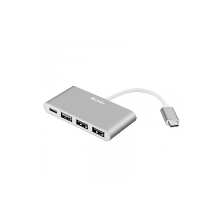Benks Adaptor multiport 4in1 USB-C - USB 2.0 - USB 3.0 - USB-C - argintiu