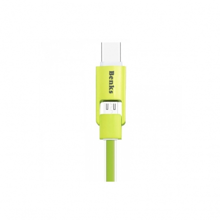 Benks Cablu 2 in1 MicroUSB - USB-C, 1m - verde