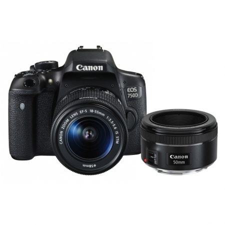 Canon EOS 750D dublu kit EF-S 18-55mm f/3.5-5.6 IS STM + EF 50mm F/1.8 STM