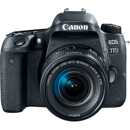 Canon EOS 77D + EF-S 18-55mm f/4-5.6 IS STM, Negru