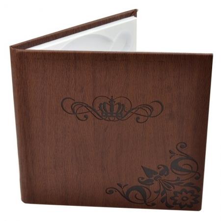 Carcasa 1 CD DVD, Piele eco, Model Coroana - Maro