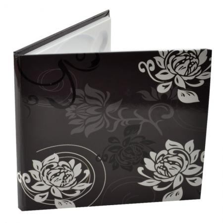 Carcasa 1 CD DVD, Piele eco, Model Floral - Negru