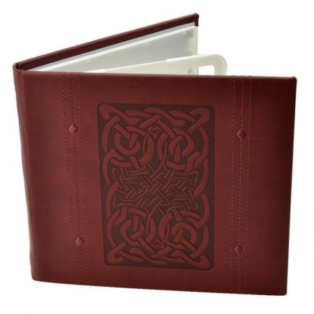 Carcasa 4 CD DVD, Piele eco, Model Celtic - Visiniu