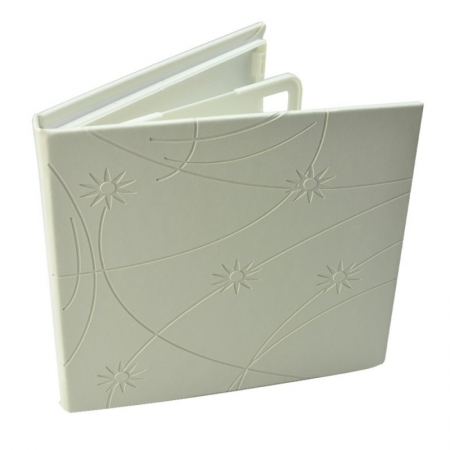 Carcasa CD DVD, Piele eco, Model Colorat - Alb