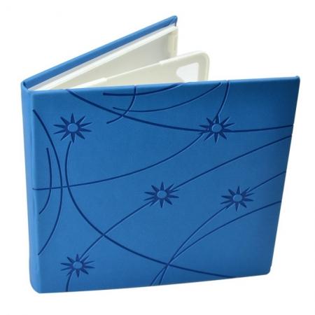 Carcasa CD DVD, Piele eco, Model Colorat - Albastru