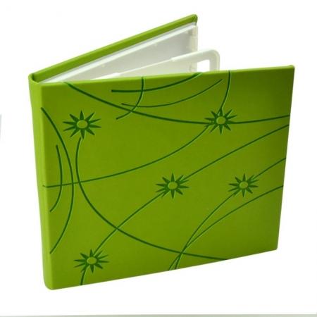 Carcasa CD DVD, Piele eco, Model Colorat - Verde