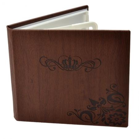 Carcasa 4 CD DVD, Piele eco, Model Coroana - Maro
