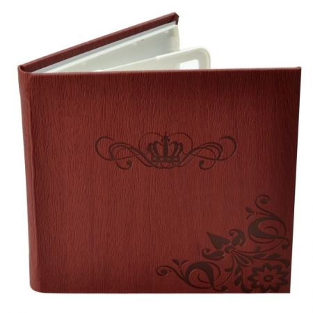 Carcasa 4 CD DVD, Piele eco, Model Coroana - Visiniu