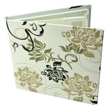 Carcasa 4 CD DVD, Piele eco, Model Floral - Alb