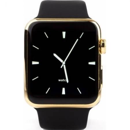 Cronos Leader - Smartwatch, Carcasa Aurie, Curea Neagra