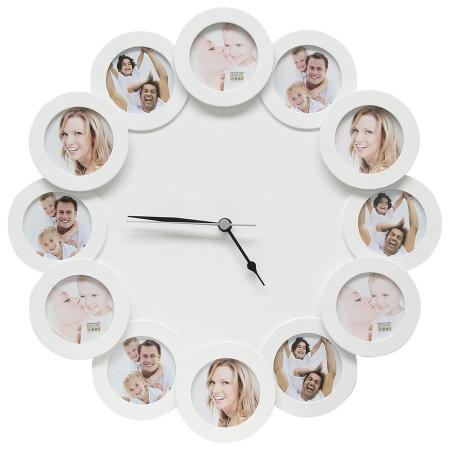 Deknudt - Rama foto cu ceas - 12 cadre rotunde 12x7x7 - alb