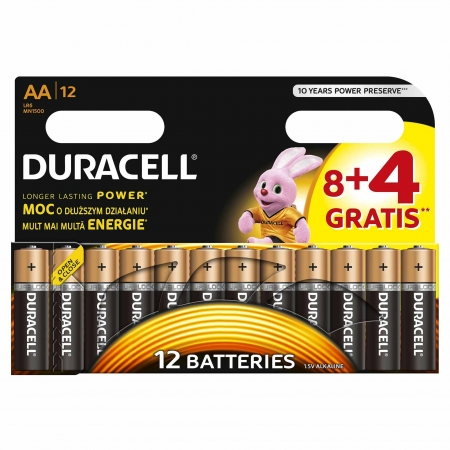 Duracell - Baterie AA LR06, 8+4 buc. gratis