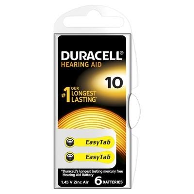 Duracell Hearing Aid - Baterie pentru Aparat Auditiv, ZA 10, 6 buc.