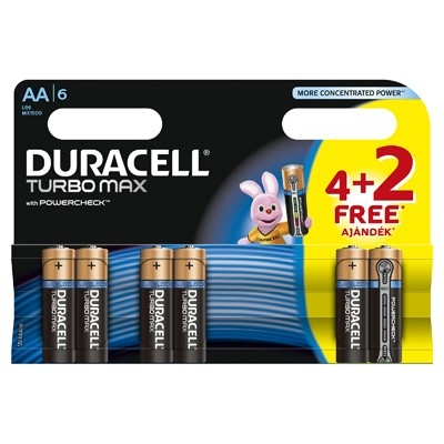 Duracell Turbo Max - Baterie AA LR06 4 buc. +2 gratis