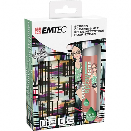 EMTEC Kit spray curatat ecranul + microfibra fashion print apple