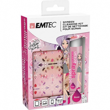 EMTEC Kit spray curatat ecranul + microfibra fashion print rose