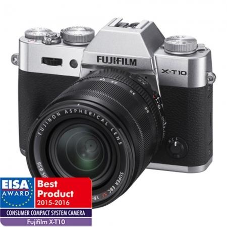 Fujifilm X-T10 argintiu kit Fujinon XF 18-55mm f/2.8-4 R LM OIS negru