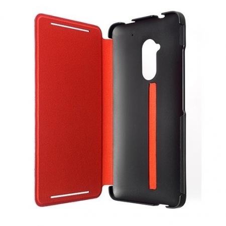 HTC HC V880 - Husa piele 'Flip' tip 'Stand' - Negru / Rosu - HTC One Max (T6)