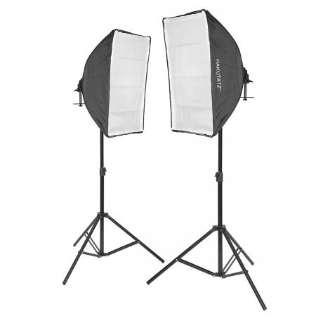 Hakutatz VL-9026S - kit 2 lampi cu 10 becuri 45W 5500K si 2 softboxuri 50x70cm