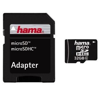 Hama - Card microSDHC 32GB + Adaptor