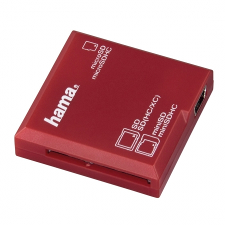 Hama Cititor de Carduri SD USB 2.0, Rosu