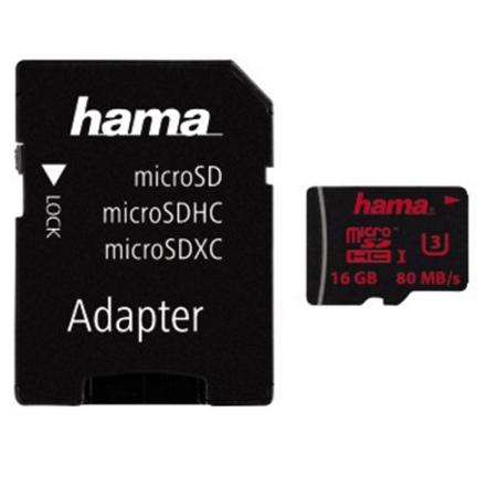Hama MicroSDHC 16GB U3 UHS-I +A/M