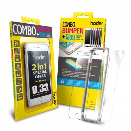 Hoda - Bumper metalic argintiu + folie sticla fata + folie spate iPhone 6