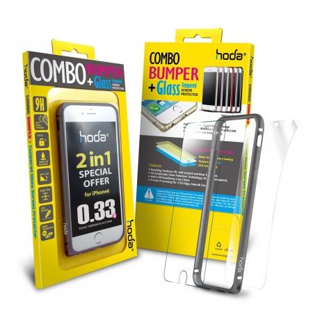 Hoda - Bumper metalic gri + folie sticla fata + folie spate iPhone 6