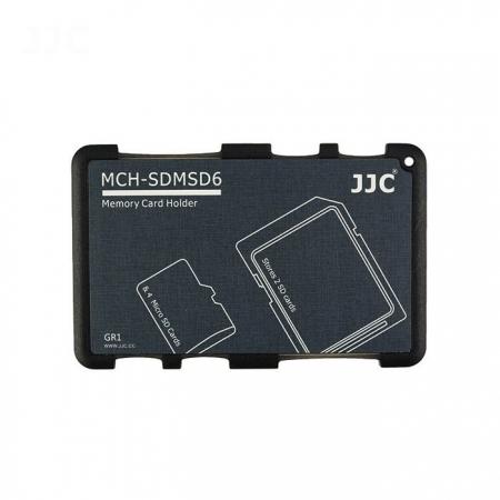 JJC - Cutie pentru carduri de memorie 2 SD + 4 Micro SD, gri