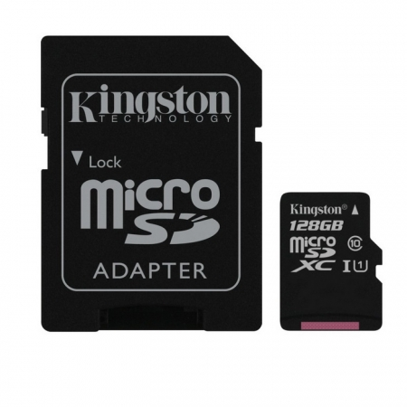 Kingston 128GB microSDXC - Clasa 10, UHS-I, 45MB/s Citire, Card + Adaptor SD