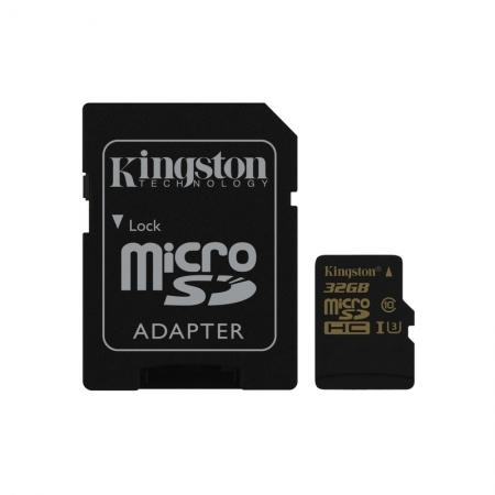 Kingston Gold microSDHC - Card 32GB, Clasa UHS-I U3, 90R/45W + Adaptor SD