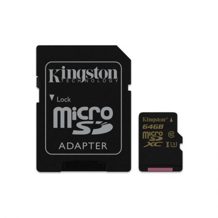 Kingston Gold microSDXC - Card 64GB, Clasa UHS-I U3, 90R/45W + Adaptor SD