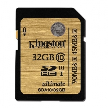 Kingston SDHC Ultimate 32GB  Class 10 UHS-I 90MB/s read 45MB/s write Flash Card - BULK125025218