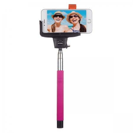KitVision BTSSPHPI - Selfie Stick extensibil cu control actionare shutter pe bluetooth si suport de telefon, roz